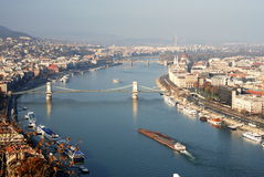 Budapest. Beautiful view of Budapest-river Danube, chain bridge and Budapest parliament Stock Image