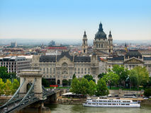 Budapest. The old chain bridge is one of the most remarkable landmarks in Budapest Stock Image