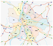 Budapest administratif et carte de route Photos stock
