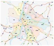 Budapest administrativo e mapa de estradas ilustração do vetor