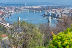 Budapest aerial cityview from Buda Citadel. On a sunny day royalty free stock photos