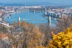 Budapest aerial cityview from Buda Citadel. On a sunny day stock photo