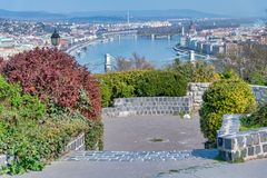Budapest aerial cityview from Buda Citadel. On a sunny day royalty free stock photography