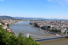 Budapest 4. Aerial view of Budapest with Hungarian Parliament Building, Chain Bridge, and Elizabeth Bridge in sight Royalty Free Stock Images