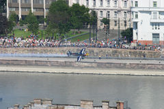 Budapest Air Race Over Danube River Stock Photo