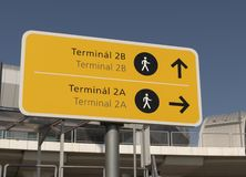Budapest Airport terminal signs 2a and 2b. Budapest Airport outdoors yellow pedestrian direction info signs with arrows pointing towards terminal 2a and 2b stock photo
