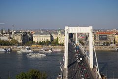 Budapest, April 2019: Elisabeth bridge connecting Buda and pest side with traffic. Budapest, April 2019: Elisabeth bridge connecting Buda and pest side with stock images