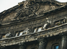 Budapest architecture. Old dark building facade on the Liberty Square Royalty Free Stock Image