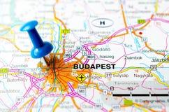 Budapest auf Karte lizenzfreie stockfotos