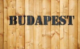 Budapest-Aufkleber auf hölzernem Frachtkasten Lizenzfreies Stockbild