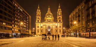 Budapest Basilica by night Royalty Free Stock Images