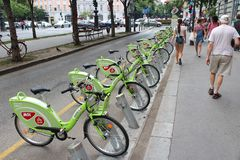 Budapest bicycle sharing Royalty Free Stock Photos
