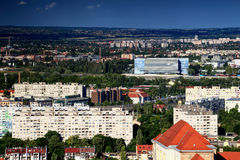 Budapest block of flats with venue for 2017 FINA Championships Royalty Free Stock Images