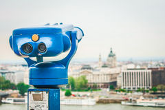 Budapest. Blue binoculars in Budapest, Hungary Royalty Free Stock Photos