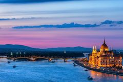 Evening in City of Budapest stock photography