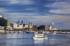 Budapest with boat on Danube river in Hungary Stock Image