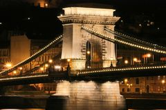 Budapest bridge by night Stock Image