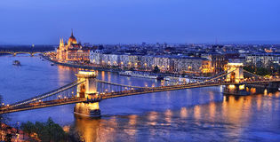 BUDAPEST BRIDGE OVER DANUBE AT NIGHT Stock Photography