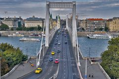 Budapest bridge trip Autumn city Gellert Hill stock photo