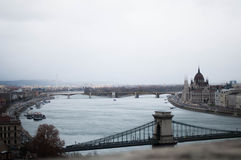 Budapest bridges. In the picture you can see the parliment of Hungary and the Margaret bridge and Liberty bridge Stock Photo