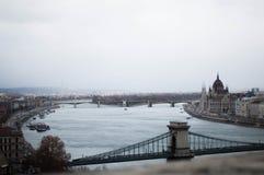 Budapest broar Arkivfoto