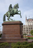 Budapest - Bronze equestrian monument of Ferenc II Rakoczi Royalty Free Stock Images