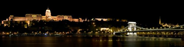 Budapest Buda Castle and the Chain Bridge Stock Image