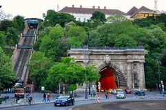 Budapest Buda Castle Tunnel in Budapest, Hungary. Busy traffic entering the Budapest Buda Castle Tunnel in Budapest, Hungary royalty free stock photography