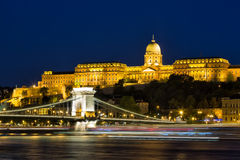Free Budapest By Night - Night View Of The Szechenyi Chain Bridge, That Spans The River Danube Between Buda And Pest And Buda Castle Stock Image - 93560371
