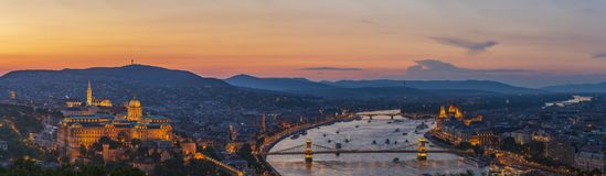 Panoramic view to Budapest from Citadella hill. Budapest is a capital of Hungary and a beautiful European city Stock Photos
