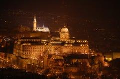 Budapest, castillo de Buda - noche Fotos de archivo libres de regalías