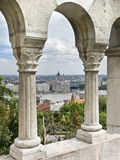 Budapest from the Castle. View of the Danube River and the historic city of Budapest (Hungary) through the arches of the castle Royalty Free Stock Photography