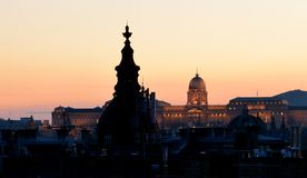 Budapest Castle area sunset view. Budapest Castle from an unusual perspective - sunset at the southern area Stock Images
