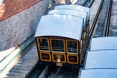 Budapest Castle Hill Funicular ascending. The Budapest Castle Hill Funicular or Budavári Sikló is a funicular railway in the city of Budapest, in Hungary. It royalty free stock image