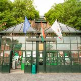 Budapest Castle Hill Funicular. Hungary. The building of the funicular. Facade stock photography
