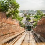 Budapest Castle Hill Funicular. Hungary. Photos from the cab. Gypsy rises stock photography