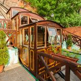 Budapest Castle Hill Funicular. Hungary. Vintage carriages are at the last stop royalty free stock photography