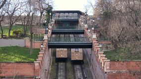 Budapest castle, hill funicular. Budapest castle, people at hill funicular stock footage