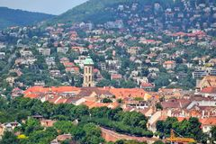 Budapest Castle Hill. View with Church of Saint Mary Magdalene and Rozsadomb district stock image