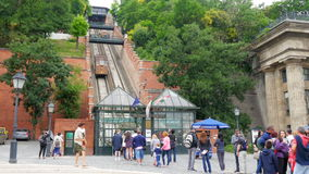 BUDAPEST CASTLE - HUNGARY, AUGUST 2015: people at hill funicular stock video