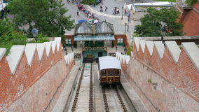 BUDAPEST CASTLE - HUNGARY, AUGUST 2015: people at hill funicular stock footage