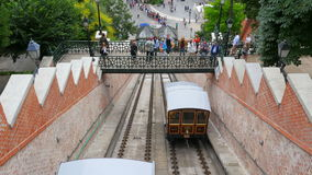 BUDAPEST CASTLE - HUNGARY, AUGUST 2015: people at hill funicular stock video footage