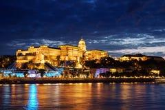 Budapest Castle at Sunset, Hungary. Budapest Castle at Sunset from danube river, Hungary Royalty Free Stock Image