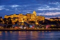 Budapest Castle at Sunset, Hungary. Budapest Castle at Sunset from danube river, Hungary Stock Photography