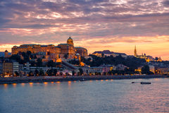 Budapest Castle at Sunset, Hungary. Budapest Castle at Sunset from danube river, Hungary Stock Images