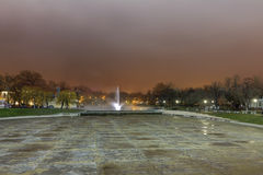 Budapest central parks fountain with thermal waters at night in HDR image Stock Images