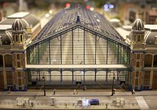 Train central station full view in a miniature world setup stock images