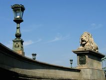 Budapest, Chain Bridge. One of the four lions guarding the Chain Bridge in Budapest Royalty Free Stock Image