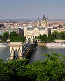 Budapest chain bridge. View of the chain bridge, with the church behind in budapest royalty free stock photography