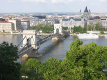 Budapest chain bridge. Chain bridge in Budapest, Hungary Stock Images